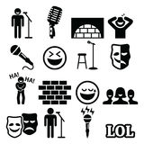 Stand up comedy, entertainment, people laughing icons set. Vector icons set of - comedy, performer on stage  on white Stock Image