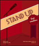 Stand up comedy event poster. Retro style vector illustration with black silhouette of microphone, badge best comedians and text. Royalty Free Stock Photo