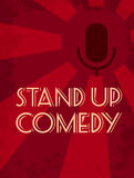 Stand up comedy event poster. Retro style vector illustration of dark silhouette of microphone at red starburst textured backgroun Royalty Free Stock Images