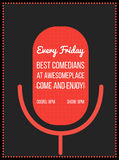 Stand up comedy event poster. Vector illustration of red microphone's silhouette with text. Royalty Free Stock Images