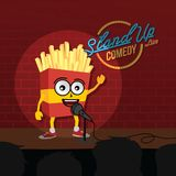 Stand up comedy french fries open mic. Vector Stock Image