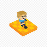 Stand up comedy isometric block cartoon Royalty Free Stock Images