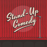 Stand up comedy live stage red curtain Royalty Free Stock Photos