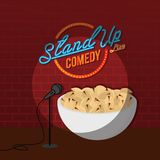 Stand up comedy open mic pistachio nut. Vector art illustration Royalty Free Stock Image