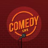 Stand up comedy open mic. Vector art illustration Stock Photos