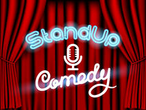 Stand up comedy red curtain. Stand up comedy neon lettering live stage with red curtain Stock Images
