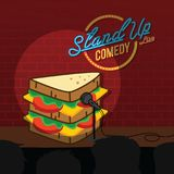 Stand up comedy sandwich open mic. Vector Royalty Free Stock Images