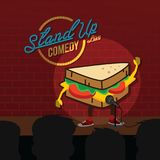 Stand up comedy sandwich open mic. Vector Stock Photo
