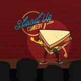 Stand up comedy sandwich open mic. Vector Stock Photography