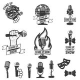 Stand up comedy show labels. Set of old style microphones. Stock Photo