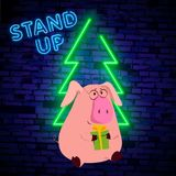Stand Up Comedy Show with pig 2019 is a neon sign. Neon logo, bright luminous banner, New Year neon poster, bright night-time adve royalty free illustration
