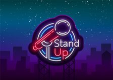 Stand Up Comedy Show is a neon sign. Neon logo, symbol, bright luminous banner, neon-style poster, bright night-time stock illustration