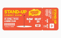 Stand up comedy show ticket on white background. Ticket template for comedy show, performance vector illustration