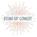 stand up comedy text show sunrays retro theme Royalty Free Stock Photo