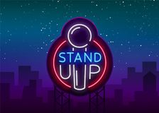 Stand Up Logo in Neon Style. Comedy show is neon sign, symbol, an invitation to a comedy performance, bright banner stock illustration