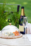 Stand-up meal in garden. Table for party in summer garden Royalty Free Stock Image