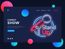 Stand Up neon creative website template design. Stand Up Neon Sign Vector illustration, Comedy Show concept for website royalty free illustration