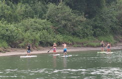 Stand Up Paddle Boarding On The North Saskatchewan Royalty Free Stock Photo