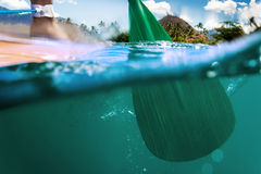Stand up paddle boarding oar in water. Oar of paddle boarder half way submerged in ocean water paddling stock image