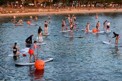 Stand up paddle class. Manly. Sydney. New South Wales. Australia. Sydney is the state capital of New South Wales and the most populous city in Australia and royalty free stock image