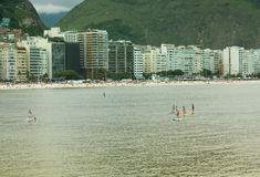 Stand Up Paddle in Copacabana Beach, Rio de Janeiro Royalty Free Stock Image