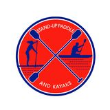 Stand-up Paddle and Kayak Circle Retro Stock Image