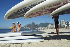 Stand Up Paddle Surfboards Ipanema Rio Brazil Stock Image