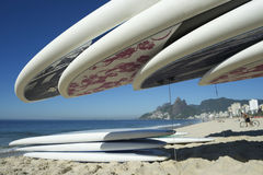 Stand Up Paddle Surfboards Ipanema Rio Brazil Royalty Free Stock Photography