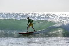 A stand up paddle surfer rides a point break wave at Arugam Bay in Sri Lanka. Royalty Free Stock Photos