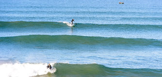 Stand up paddle Surfer at a surf break in morocco 4 Royalty Free Stock Photo