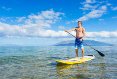 Stand Up Paddle Surfing In Hawaii Royalty Free Stock Photo