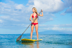 Stand Up Paddle Surfing In Hawaii Stock Photo