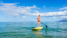 Stand Up Paddle Surfing In Hawaii Stock Photography