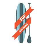 Stand Up Paddle Surfing. Logo Royalty Free Stock Image