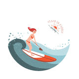 Stand Up Paddle Surfing Stock Photo