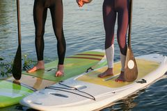 Stand up paddleboard beach people on paddle board Stock Images