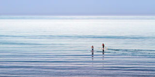 Stand up paddling. Two men stand up paddling towards the horizon, on a summer's day on Lake Michigan Stock Image