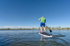 Stand up paddling on a lake. Senior male on SUP (stand up paddleboard) on a lake under Colorado blue sky Stock Photos