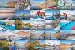 Stand up paddling picture collection. Picture collection from stand up paddling  and trips on lakes and rivers in Colorado  featuring the same male paddler, fall Stock Images