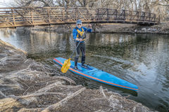Stand up paddling on the Poudre RIver in Colorado Stock Image