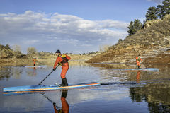 Stand up paddling workout in Colorado Royalty Free Stock Image