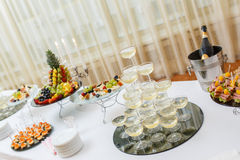 Stand-up party, Champagne Pyramid Stock Photography