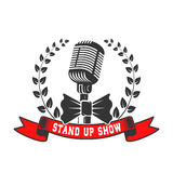Stand up show emblem template. Old style microphone with laurel Royalty Free Stock Images