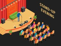 Stand-Up Show Scene and Auditorium Isometric View. Vector. Stand-Up Show Scene and Auditorium with Public Isometric View Comedy Performance Entertainment Design royalty free illustration
