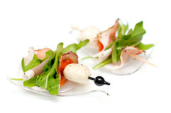 Stand-up snack canape with bacon and mozzarella Stock Images