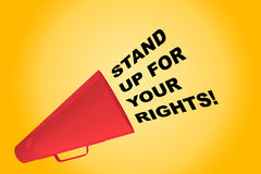 Stand Up For Your Rights concept. 3D illustration of STAND UP FOR YOUR RIGHTS! title flowing from a loudspeaker Stock Photo