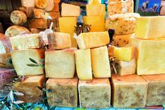 Stand with Variety of Aged Cheeses in Palermo, Italy stock photos