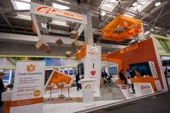 Stand von Alibaba-Gruppe an der CeBIT-Informationstechnologiemesse Lizenzfreie Stockfotografie