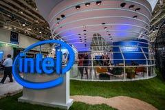 Stand von Intel Corporation an der CeBIT-Informationstechnologiemesse Stockbild