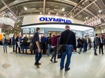 Stand von Olymp-Firma an Messe 2017 PhotoForum Stockfotografie